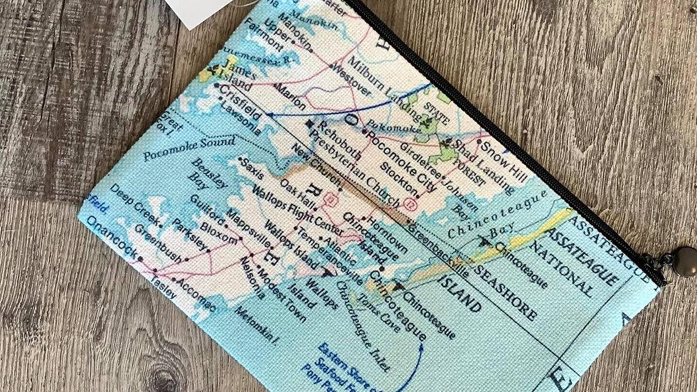 Chincoteague Map Pouch Wristlet