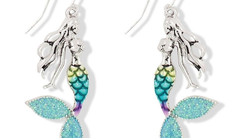 Sparkling Blue Mermaid Earrings