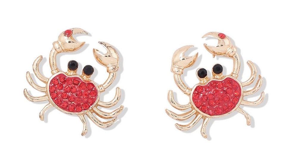 Red Crystal Crab Earrings