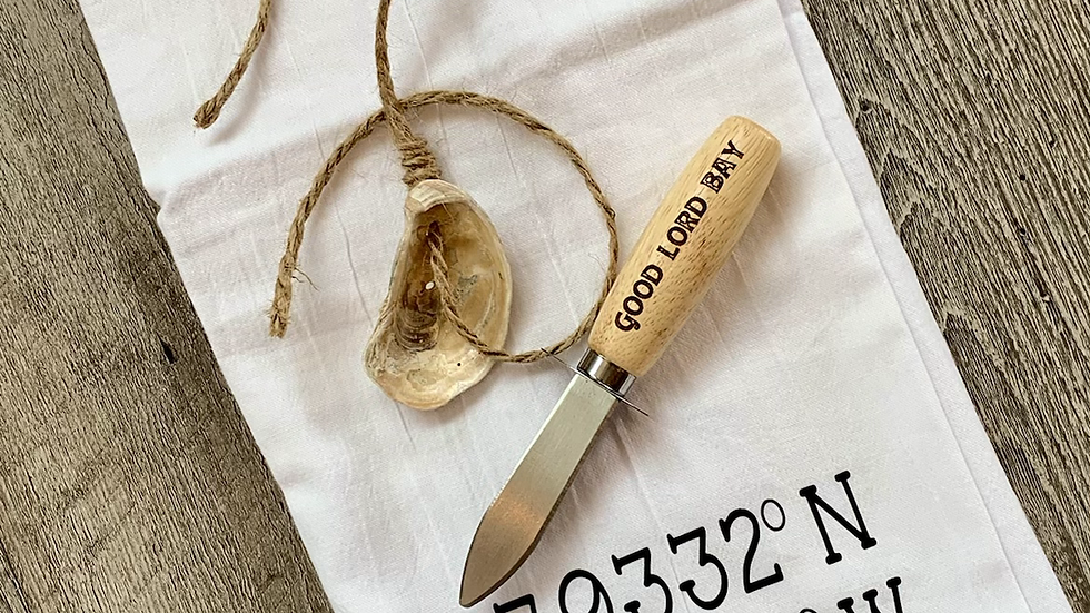 Oyster knife with coordinates tea towel
