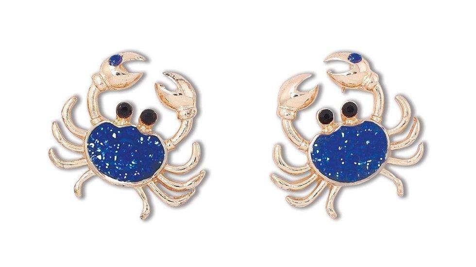 Blue Crystal Crab Earrings