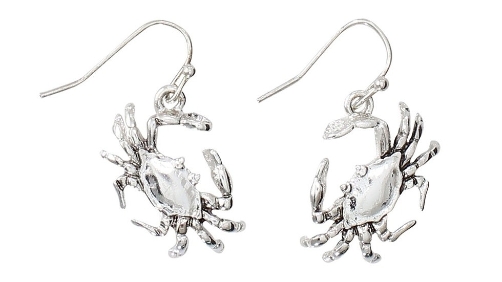 Silver Tone Crab Earrings