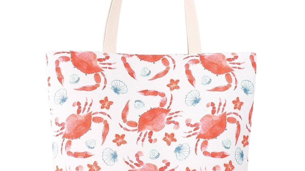 Red crab with blue shells & starfish tote