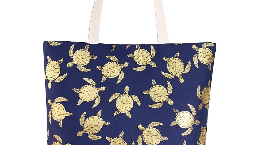 Navy blue tote with gold sea turtle print