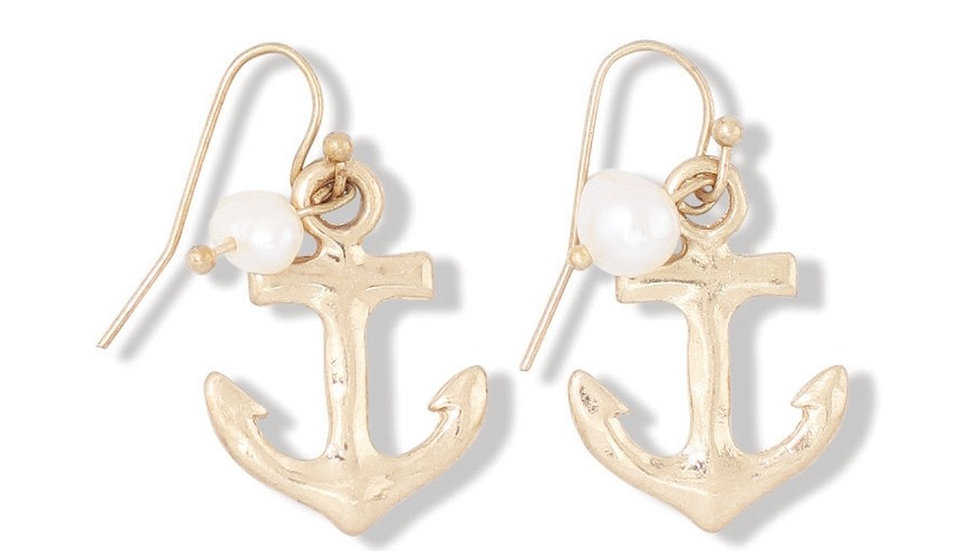 Gold Anchors w/Pearls