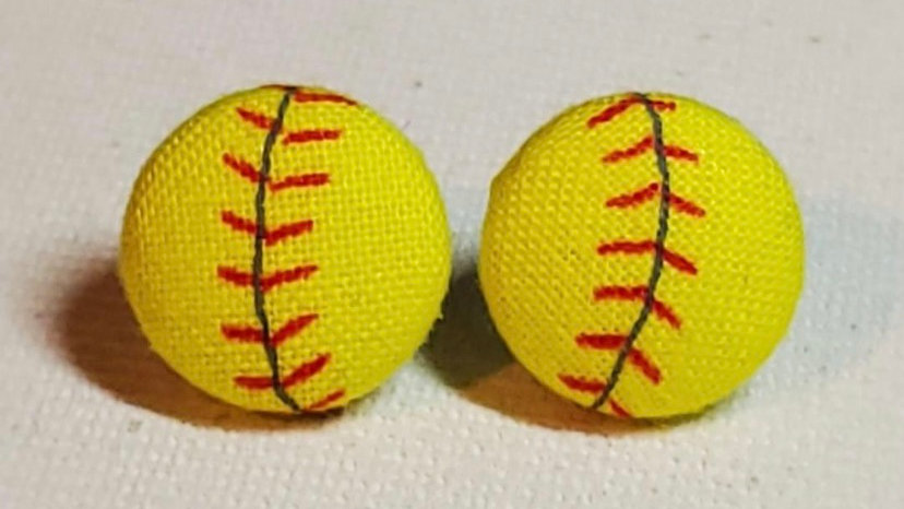 Softball Button Earrings
