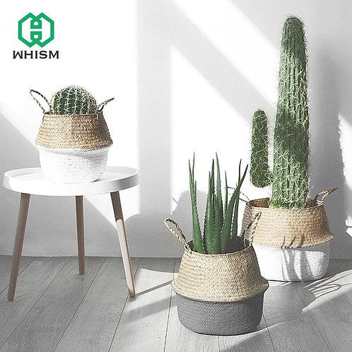 WHISM Handle Seagrass Laundry Basket Folding Handmade Straw Flowerpot Planter