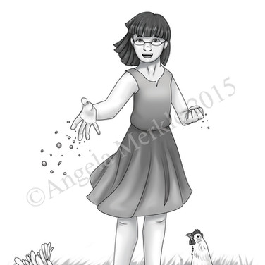 Stacey Feeds Chickens