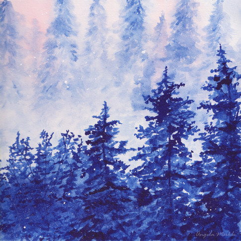 Blue Trees in Watercolor