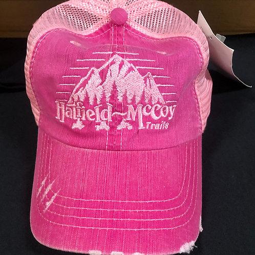 Distressed Hat- Pink