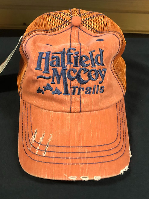 Distressed Hat- Rust w/Navy