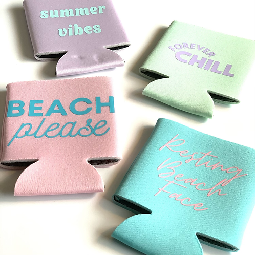 Summer Pastel Can Coolers