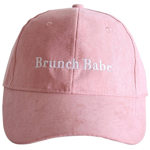 Brunch Babe Ultra Suede Embroidered Hat -Pink