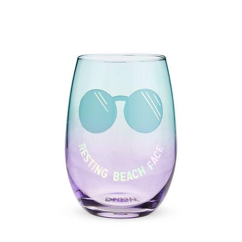 Resting Beach Face Stemless Wine Glass