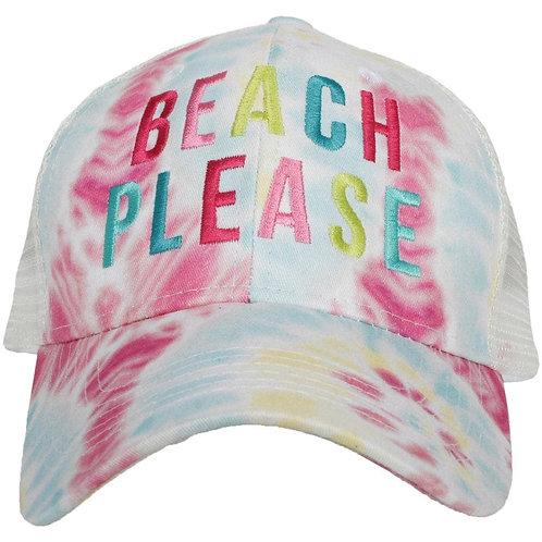 Beach Please Multicolored Tie Dye Trucker Hat