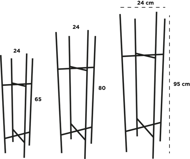 dimensiones de Base cuatro patas varilla redonda de 3/8
