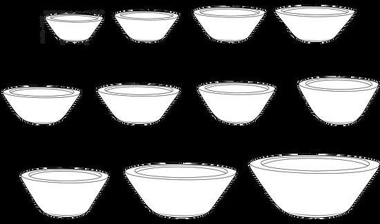 Tamaños de macetas Tazón Liso