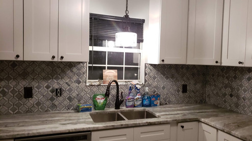 Kitchen Backsplash and Light Fixture Installed