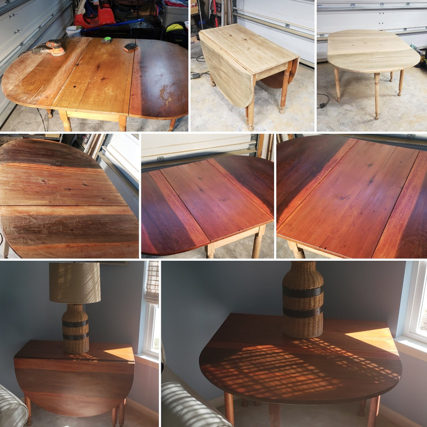 Stages of a Refinished Table