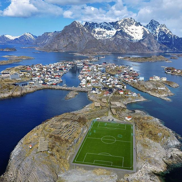 A footballfield with spectacular surroun
