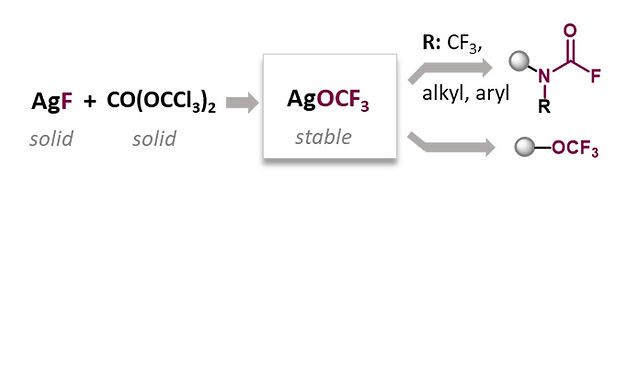 """<p class=""""font_8""""><strong>Facile Access to AgOCF₃ and Novel Applications as Reservoir for OCF₂ for the direct Synthesis of </strong><em><strong>N</strong></em><strong>-CF₃, Aryl or Alkyl Carbamoyl Fluorides</strong></p>"""