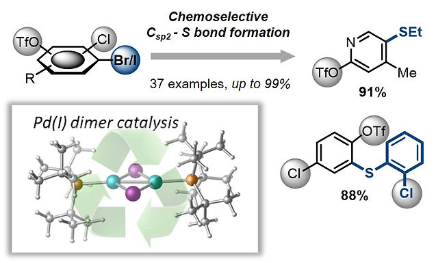 """<p class=""""font_8""""><strong>Site-Selective C-S Bond Formation at C-Br over C-OTf and C-Cl Enabled by an Air-Stable, Easy-to-Recover &amp; Recyclable Pd(I) Catalyst</strong></p>"""