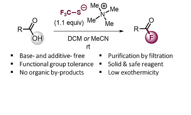 """<p class=""""font_8""""><strong>Direct Synthesis of Acyl Fluorides from Carboxylic Acids with the Bench-Stable Solid Reagent (Me₄N)SCF₃</strong></p>"""