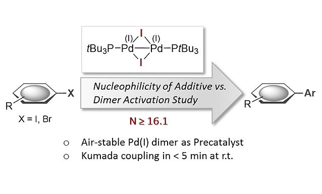 """<p class=""""font_8""""><strong>Air-Stable Dinuclear Iodine-bridged Pd(I) Complex - Catalyst, Precursor or Parasite? The Additive Decides. Systematic Nucleophile-Activity Study and Application as Precatalyst in Cross-Coupling</strong></p>"""