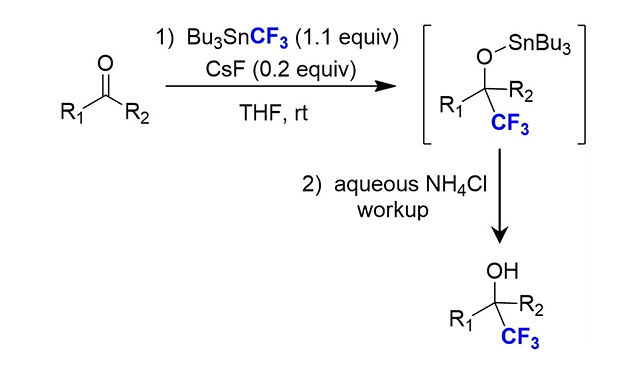 """<p class=""""font_8""""><strong>Trifluoromethylation of Ketones and Aldehydes with Bu₃SnCF₃</strong></p>"""