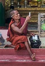 Modern monk at Shwedagon/Yangon
