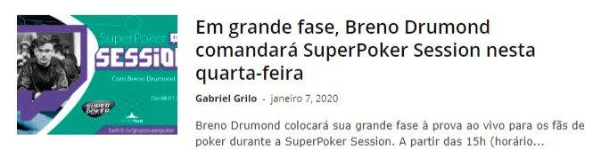 Em grande fase, Breno Drumond comandará SuperPoker Session nesta quarta-feira