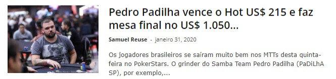 Pedro Padilha vence o Hot US$ 215 e faz mesa final no US$ 1.050 Thursday Thrill do PokerStars