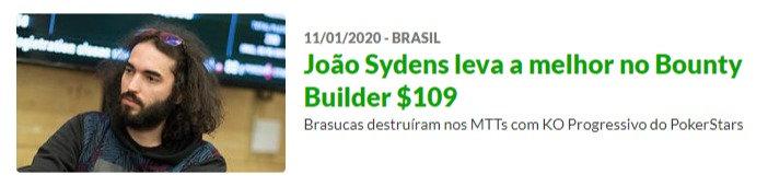 João Sydens leva a melhor no Bounty Builder $109