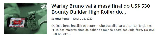 Warley Bruno vai à mesa final do US$ 530 Bounty Builder High Roller do PokerStars