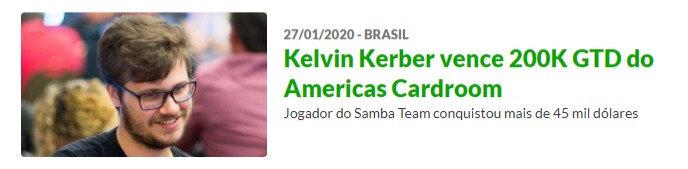 "Kelvin ""Palau77"" Kerber vence 200K Garantidos do Americas Cardroom"