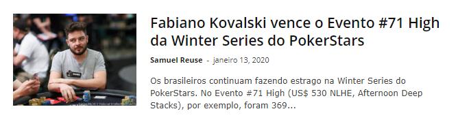 Fabiano Kovalski vence o Evento #71 High da Winter Series do PokerStars