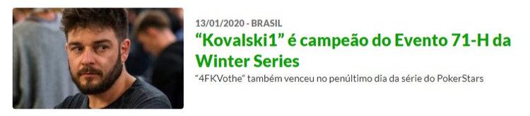 "Fabiano ""Kovalski1"" Kovalski é campeão do Evento 71-H da Winter Series"