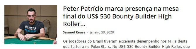 Peter Patrício marca presença na mesa final do US$ 530 Bounty Builder High Roller do PokerStars