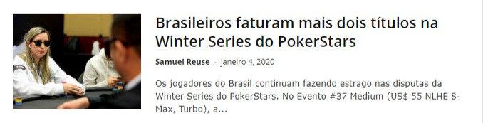 Brasileiros faturam mais dois títulos na Winter Series do PokerStars