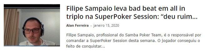 "Filipe Sampaio leva bad beat em all in triplo na SuperPoker Session: ""deu ruim aqui"""