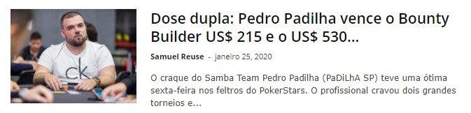 Dose dupla: Pedro Padilha vence o Bounty Builder US$ 215 e o US$ 530 Daily Supersonic
