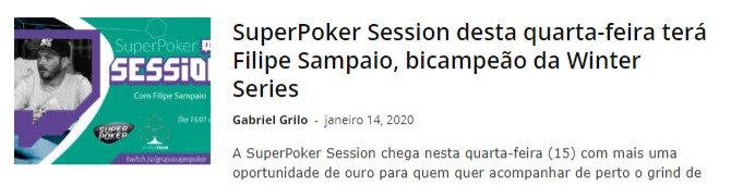 SuperPoker Session desta quarta-feira terá Filipe Sampaio, bicampeão da Winter Series