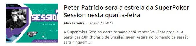 Peter Patrício será a estrela da SuperPoker Session nesta quarta-feira
