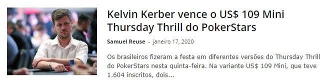Kelvin Kerber vence o US$ 109 Mini Thursday Thrill do PokerStars