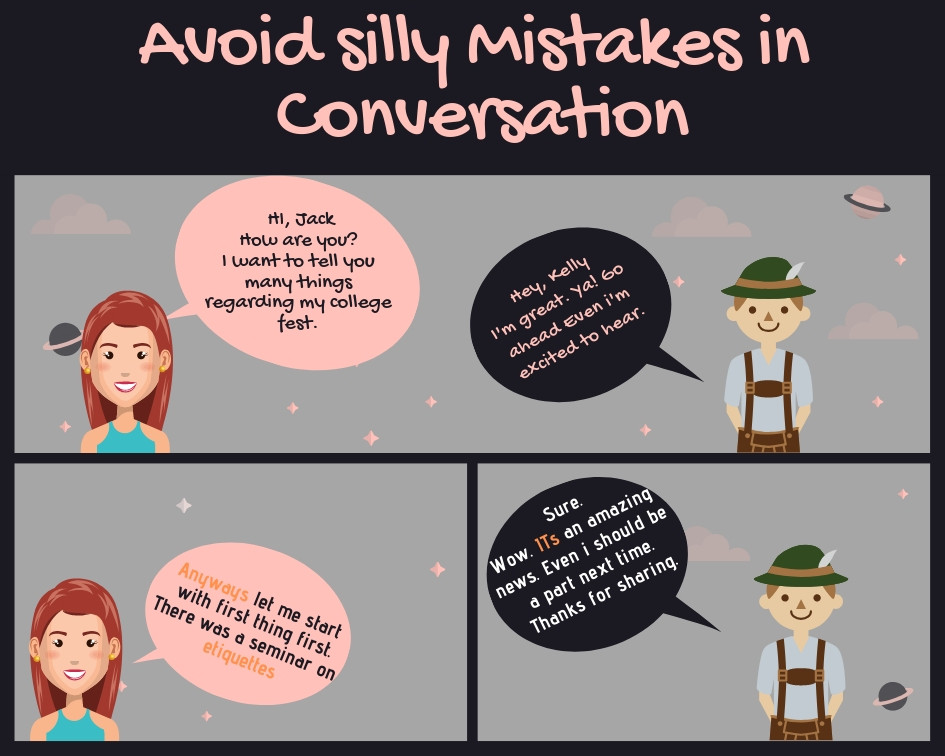 Avoid common mistakes in a conversation