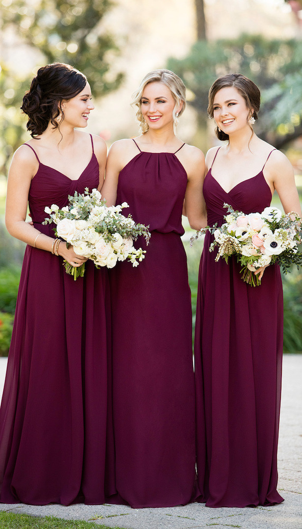 Sorella Vita burgandy chiffon bridesmaid dresses perfect for fall