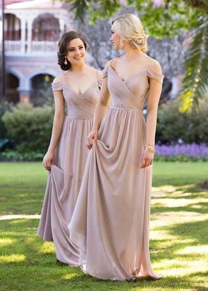 Sorella Vita neatural chiffon bridesmaids dresses