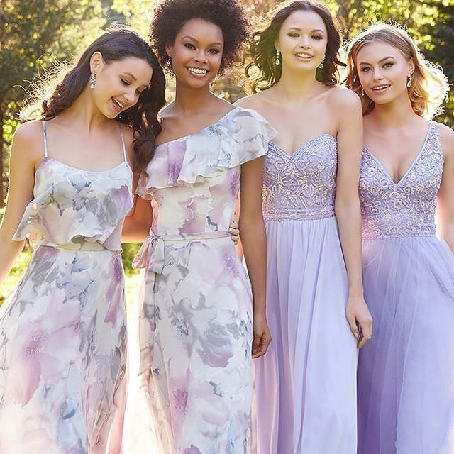Mori Lee Florals mixed with lace/chiffon bridesmaids dresses