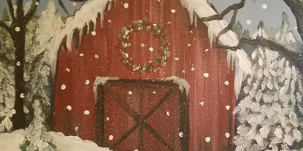Winter Barn with BG Sip N Paint