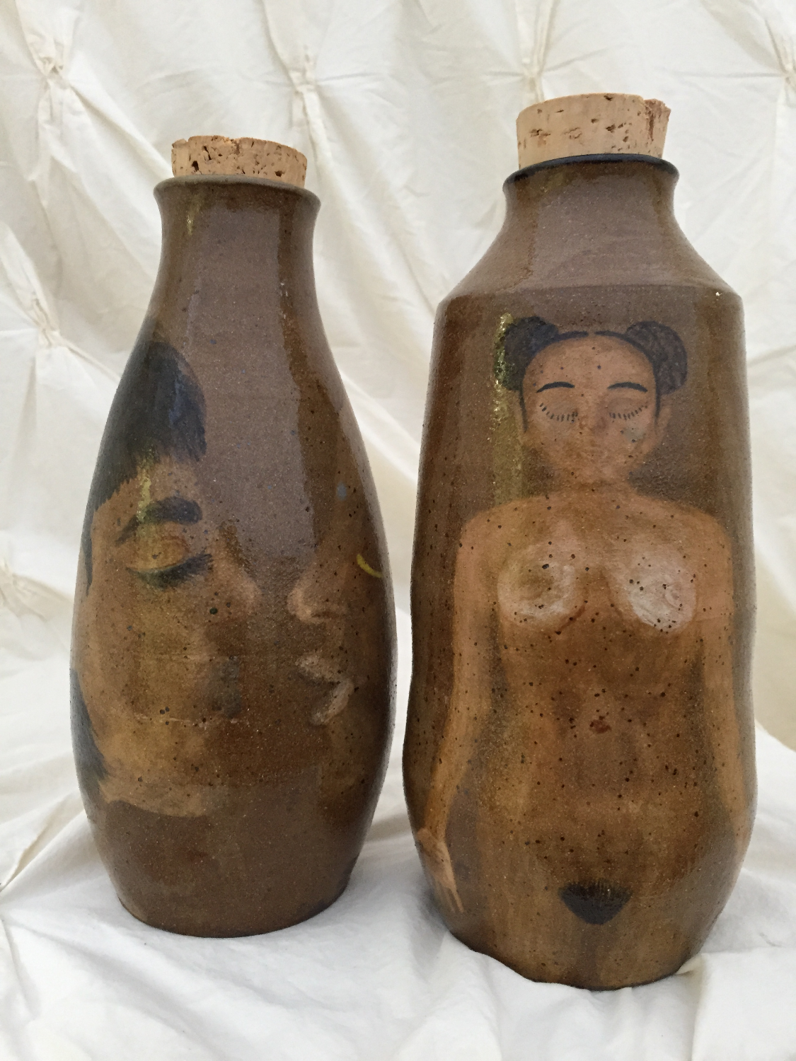 2 painted bottles